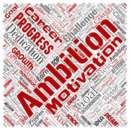 Ambition de leadership conceptuel de vecteur ou motivation carré rouge fond isolé de nuage de mot de caractère réussi. Collage de défi de croissance d'entreprise, conception de concept d'objectif d'inspiration de rêve positif Vecteurs