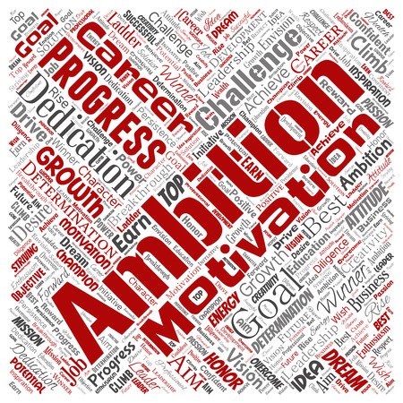 Vector conceptual leadership ambition or motivation square red successful character word cloud isolated background. Collage of business growth challenge, positive dream inspiration goal concept design