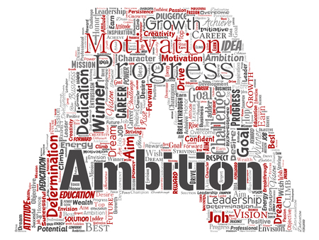 Vector conceptual leadership ambition or motivation letter font red successful character word cloud isolated background. Collage of business growth challenge, positive dream inspiration goal concept