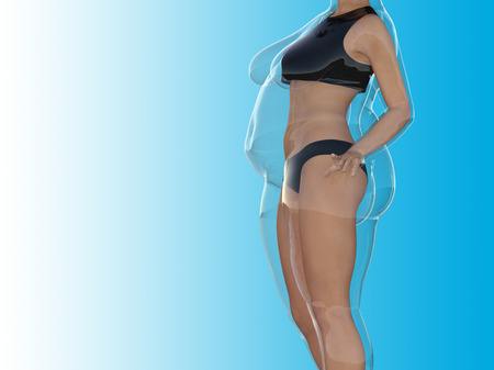 Conceptual fat overweight obese female vs slim fit healthy body after weight loss or diet with muscles thin young woman on blue. A fitness, nutrition or fatness obesity, health shape 3D illustration Stock Photo