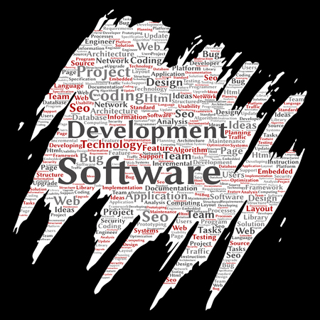 Vector conceptual software development project coding technology paint brush paper word cloud isolated background. Collage of application web design, seo ideas, implementation, testing upgrade concept