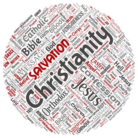Vettore concettuale cristianesimo, Gesù, Bibbia, testamento rotondo cerchio rosso parola nuvola isolato sfondo. Collage di insegnamenti, salvezza, resurrezione, paradiso, confessione, perdono, concetto di amore Vettoriali