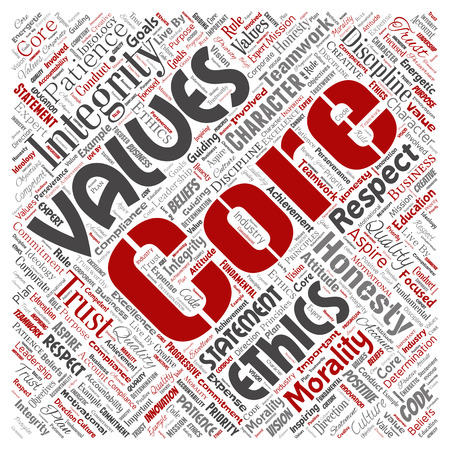 Vector conceptual core values integrity ethics square red concept word cloud isolated background. Collage of honesty quality trust, statement, character, perseverance, respect and trustworthy