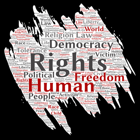 Vector conceptual human rights political freedom, democracy paint brush paper word cloud isolated background. Collage of humanity tolerance, law principles, people justice or discrimination concept