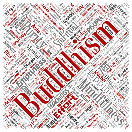 Vector conceptual buddhism, meditation, enlightenment, karma square red word cloud isolated background. Collage of mindfulness, reincarnation, nirvana, emptiness, bodhicitta, happiness concept Illustration