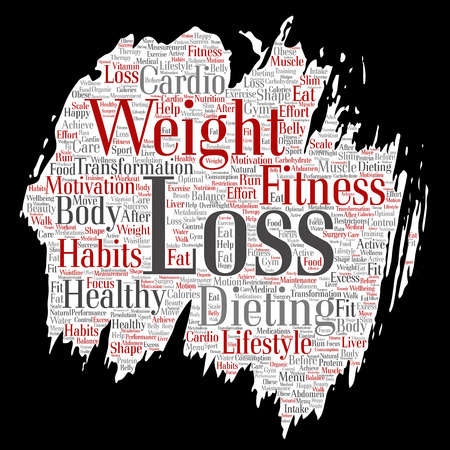 Vector conceptual weight loss healthy diet transformation paint brush paper word cloud isolated background. Collage of fitness motivation lifestyle, before and after workout slim body beauty concept Illustration