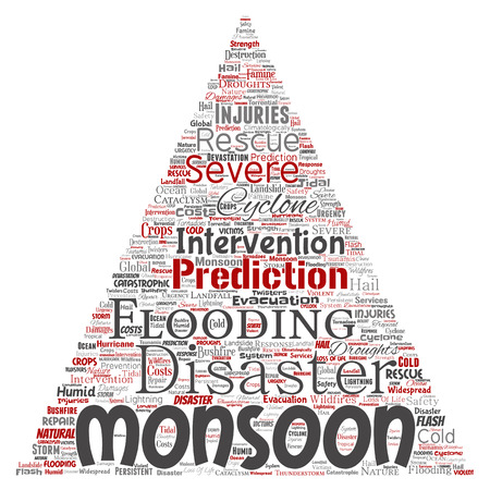 Conceptual of monsoon weather in a triangle arrow meteorology word cloud isolated background. Collage of tropical dramatic storm force, strong wind blowing, rain hail thunderstorm concept