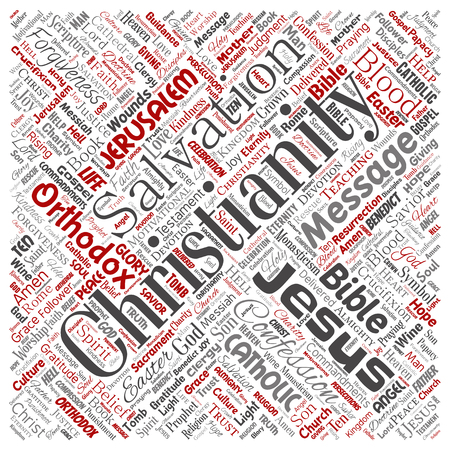 Conceptual vector of christianity, jesus, bible, testament text. Collage of teachings, salvation resurrection, heaven, confession, forgiveness, love concept Illustration