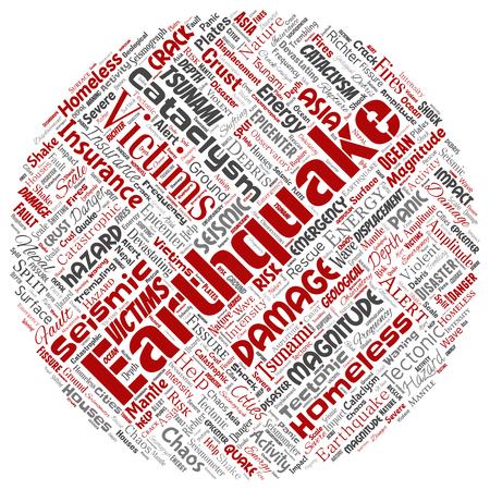 Vettore concettuale attività terremoto round cerchio rosso word cloud sfondo isolato. Collage di tremolio della crosta tettonica sismica naturale, rischio di onde di tsunami violente, concetto di spostamento delle placche tettoniche Vettoriali