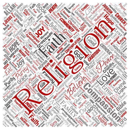 Vector conceptual religion, god, faith, spirituality square red  word cloud isolated background. Collage of worship, love, prayer, belief, gratitude, hope, divine, symbol,