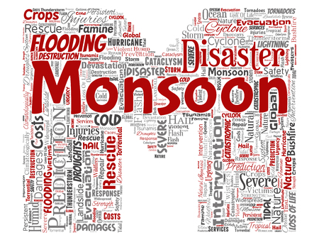 Vector conceptual monsoon dangerous weather letter font M red meteorology word cloud isolated background. Collage of tropical dramatic storm force, strong wind blowing, rain hail thunderstorm concept