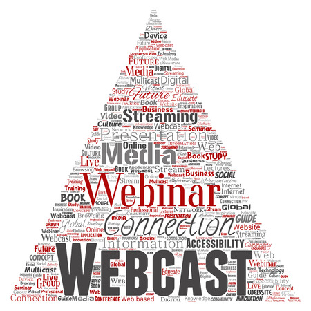 Vector conceptual webcast or webinar triangle arrow communication online network education word cloud isolated background. Collage of future presentation seminar, multicast global streaming concept