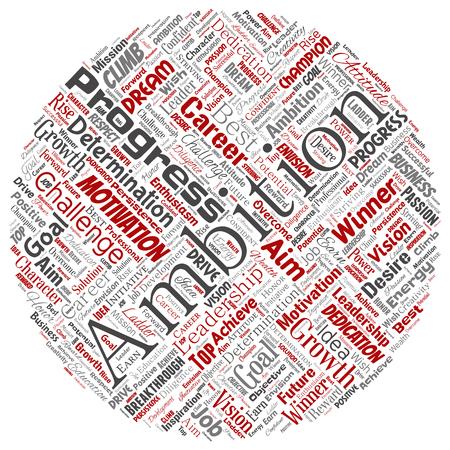 Ambition de leadership conceptuel de vecteur ou motivation autour du cercle rouge fond isolé de nuage de mot de caractère réussi. Collage de défi de croissance d'entreprise, concept d'objectif d'inspiration de rêve positif Vecteurs