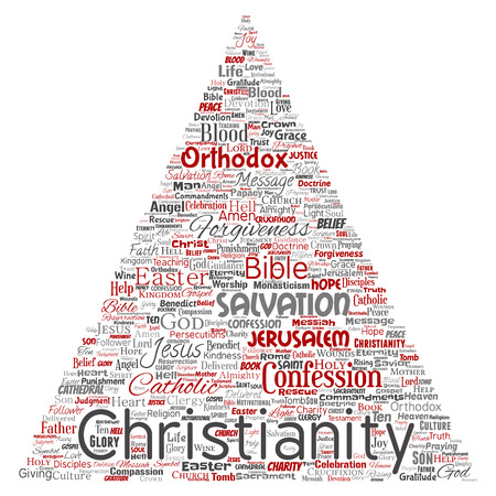 Conceptual christianity, jesus, bible, testament triangle arrow red  word cloud isolated background. Collage of teachings, salvation resurrection, heaven, confession, forgiveness, love concept Stock Photo