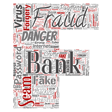 Vector conceptual bank fraud payment scam danger letter font F word cloud isolated background. Collage of password hacking, virus fake authentication, illegal transaction or identity theft concept Vetores