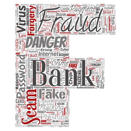 Vector conceptuel bancaire fraude paiement arnaque danger lettre police F mot nuage isolé fond. Collage de piratage de mot de passe, fausse authentification de virus, transaction illégale ou concept de vol d'identité Vecteurs