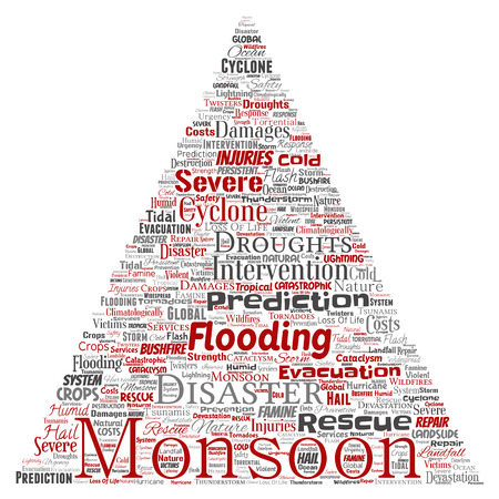 Vector conceptual monsoon dangerous weather triangle arrow meteorology word cloud isolated background. Collage of tropical dramatic storm force, strong wind blowing, rain hail thunderstorm concept