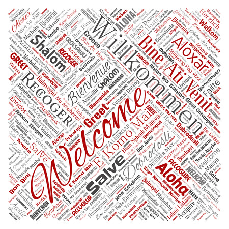 Vector conceptual abstract welcome or greeting international square red word cloud in different languages or multilingual. Collage of world, foreign, worldwide travel translate, vacation tourism