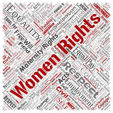 Vector conceptual women rights, equality, free-will square red word cloud isolated background. Collage of feminism, empowerment, integrity, opportunities, awareness, courage, education, respect concept
