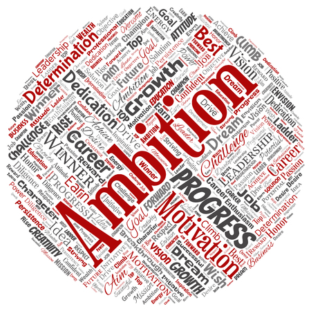 Vector conceptual leadership ambition or motivation round circle red successful character word cloud isolated background. Collage of business growth challenge, positive dream inspiration goal concept