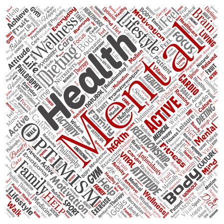 Vector conceptual mental health or positive thinking square red word cloud isolated background. Collage of optimism, psychology, mind healthcare, thinking, attitude balance or motivation text