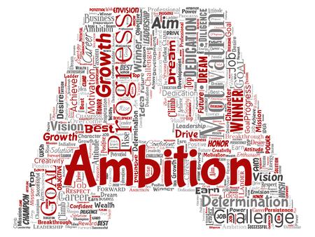 Vettore di leadership concettuale ambizione o motivazione lettera font rosso carattere di successo parola cloud sfondo isolato. Collage di sfida di crescita aziendale, concetto di obiettivo di ispirazione sogno positivo Vettoriali