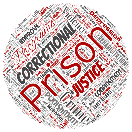 Vector conceptual prison, justice, crime round circle red word cloud isolated background. Collage of punishment, law, rights, social, authority, system, civil, trial, rehabilitation, freedom concept Ilustração