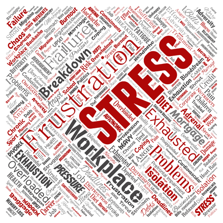Vector conceptual mental stress at workplace or job pressure human square red word cloud isolated background. Collage of health, work, depression problem, exhaustion, breakdown, deadlines risk Vektoros illusztráció