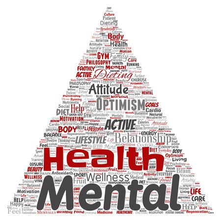 Vector conceptuele geestelijke gezondheid of positief denken driehoek pijl woord wolk geïsoleerde achtergrond. Collage van optimisme, psychologie, geestgezondheidszorg, denken, houdingsbalans of motivatietekst Vector Illustratie