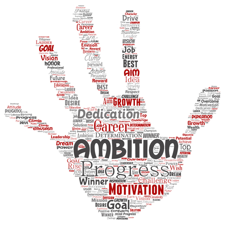 Vector conceptual leadership ambition or motivation hand print stamp successful character word cloud isolated background. Collage of business growth challenge, positive dream inspiration goal concept Иллюстрация