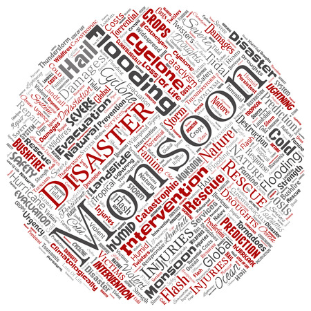Vector conceptual monsoon dangerous weather round circle red meteorology word cloud isolated background. Collage of tropical dramatic storm force, strong wind blowing, rain hail thunderstorm concept Illustration