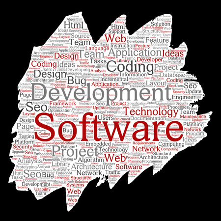 Vector conceptual software development project coding technology paint brush paper word cloud isolated background. Collage of application web design, seo ideas, implementation, testing upgrade concept Vektorové ilustrace