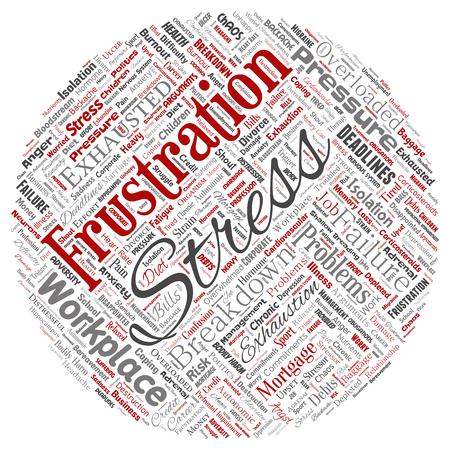 Vector conceptual estrés mental en el lugar de trabajo o presión de trabajo humano círculo rojo palabra nube aislada fondo. Collage de salud, trabajo, problema de depresión, agotamiento, avería, riesgo de plazos Ilustración de vector