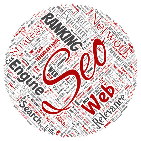 Vector conceptual search results engine optimization top rank seo round circle red online internet word cloud text isolated on background. Marketing strategy web page content relevance network concept