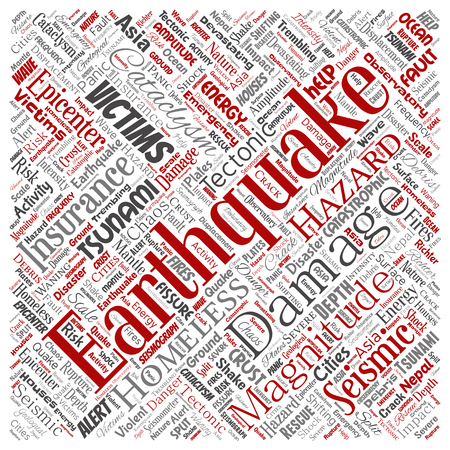 Vector conceptual earthquake activity square red word cloud isolated background. Collage of natural seismic tectonic crust tremble, violent tsunami waves risk, tectonic plates shifting concept design