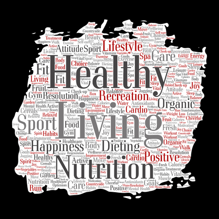 Vector conceptual healthy living positive nutrition sport paint brush paper word cloud isolated background. Collage of happiness care, organic, recreation workout, beauty, vital healthcare spa concept