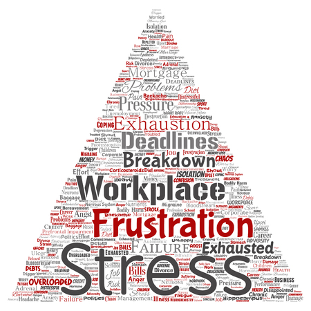 Vector conceptual mental stress at workplace or job pressure human triangle arrow word cloud isolated background. Collage of health, work, depression problem, exhaustion, breakdown, deadlines risk
