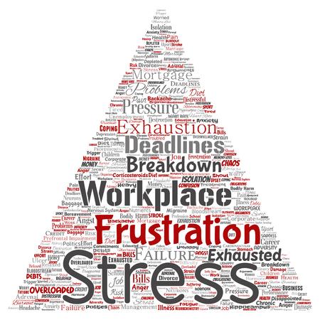 Wektor pojęciowy stres psychiczny w miejscu pracy lub ciśnienie pracy ludzki trójkąt strzałka słowo cloud na białym tle. Kolaż zdrowia, pracy, problemu depresji, wyczerpania, awarii, ryzyka terminów