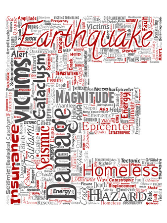 Vector conceptual earthquake activity letter font E red word cloud isolated background. Collage of natural seismic tectonic crust tremble, violent tsunami waves risk, tectonic plates shifting concept