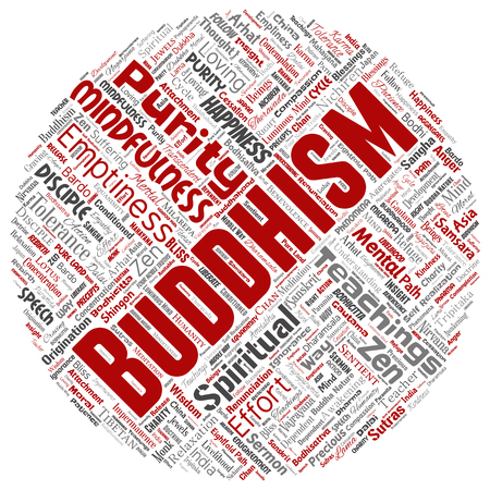 Vector conceptual buddhism, meditation, enlightenment, karma round circle red word cloud isolated background.