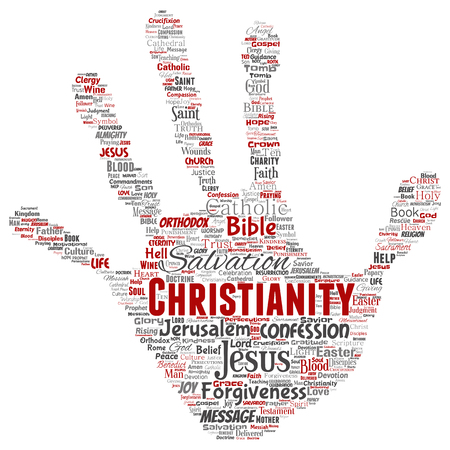 Vector conceptual Christianity, bible, testament hand print stamp word cloud isolated background.