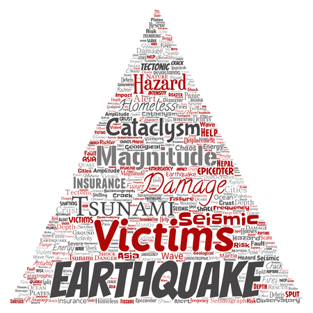 Vector conceptual earthquake activity triangle arrow word cloud isolated background. Illustration