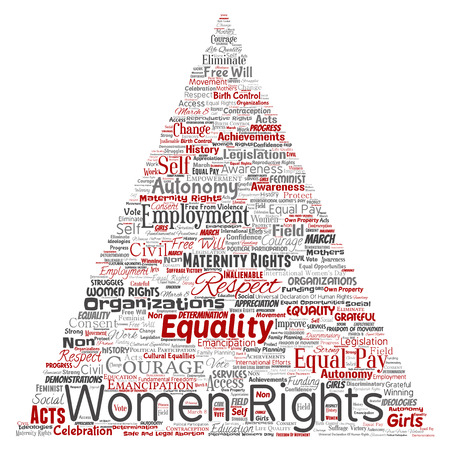Vector conceptual women rights, equality, free-will triangle arrow red word cloud isolated background. Collage of feminism, empowerment, integrity, opportunities, awareness, courage, education, respect concept