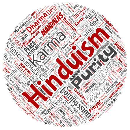 Vector conceptual hinduism, shiva, rama, yoga round circle red word cloud isolated background.