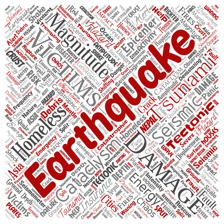 Vector conceptual earthquake activity square red word cloud isolated background. Collage of natural seismic tectonic crust tremble, violent tsunami waves risk, tectonic plates shifting concept design Illustration