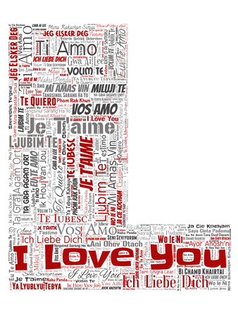 Vector conceptual sweet romantic I love you multilingual message letter font L red word cloud isolated background. Collage of valentine day, romance affection, happy emotion or passion lovely concept Illustration