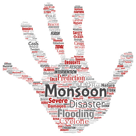Vector conceptual monsoon dangerous weather hand print stamp meteorology word cloud isolated background. Collage of tropical dramatic storm force, strong wind blowing, rain hail thunderstorm concept Иллюстрация