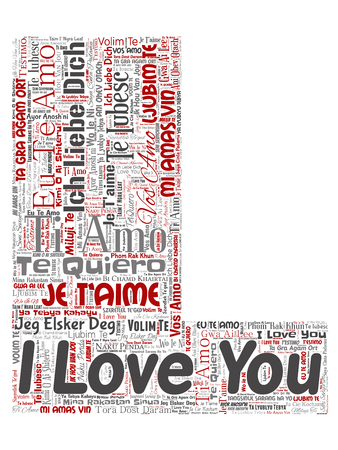 Vector conceptual sweet romantic I love you multilingual message letter font L red word cloud isolated background. Collage of valentine day, romance affection, happy emotion or passion lovely concept Ilustração