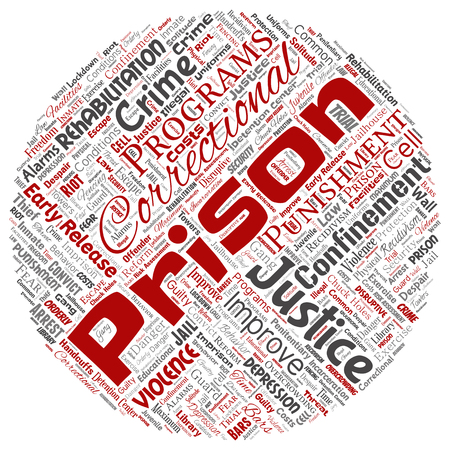 Vector conceptual prison, justice, crime round circle red word cloud isolated background. Collage of punishment, law, rights, social, authority, system, civil, trial, rehabilitation, freedom concept Vettoriali