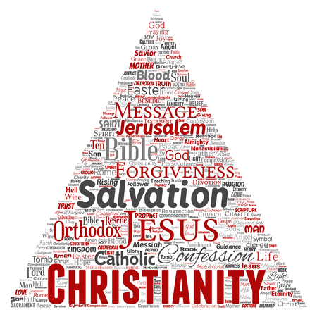 Vector conceptual christianity, jesus, bible, testament triangle arrow red word cloud isolated background. Collage of teachings, salvation resurrection, heaven, confession, forgiveness, love concept Vector Illustration